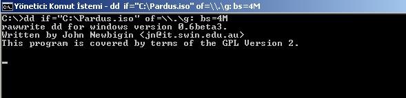 pardus linux flash bellek kurulum